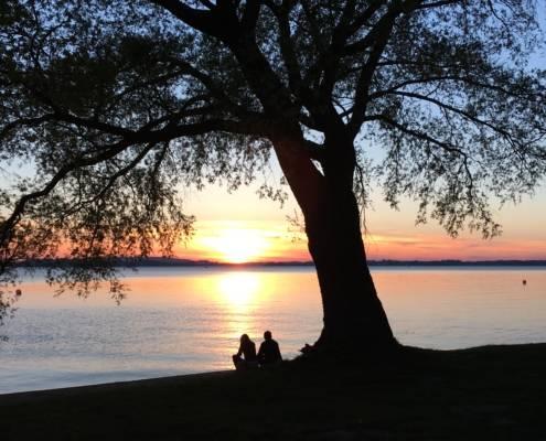 Perfekter Tag Chiemsee Bayern Seenliebe Sundowner Sonnenuntergang