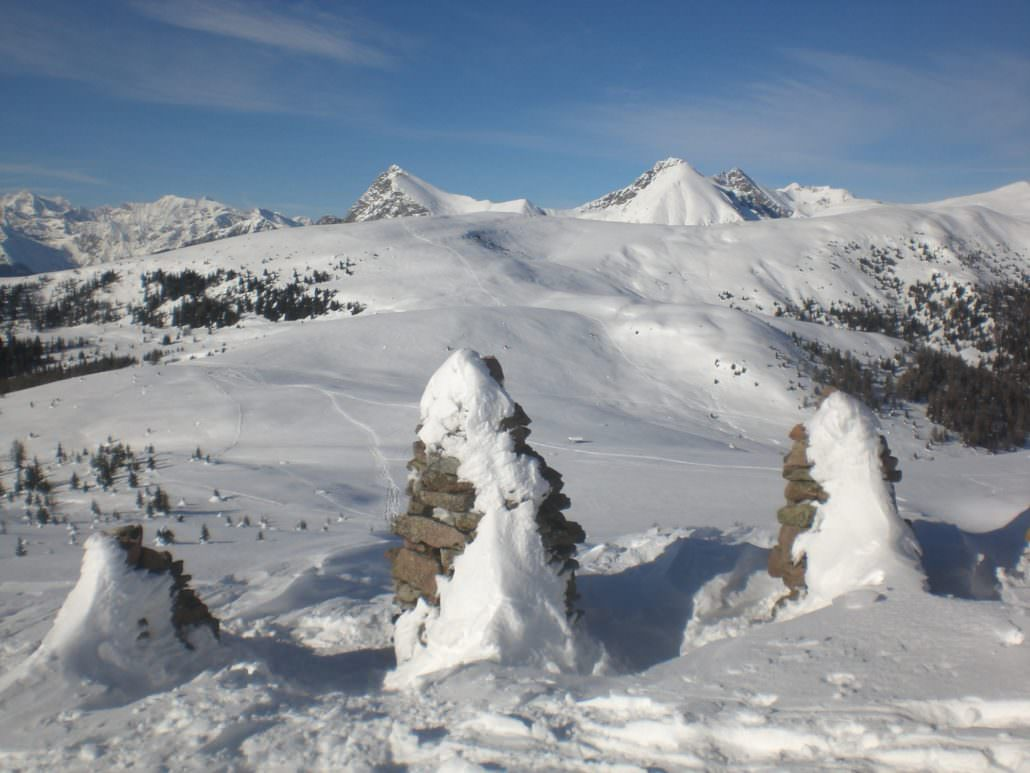 Stoanernen Mandln auf dem Gipfelplateau des Schöneck im Sarntal
