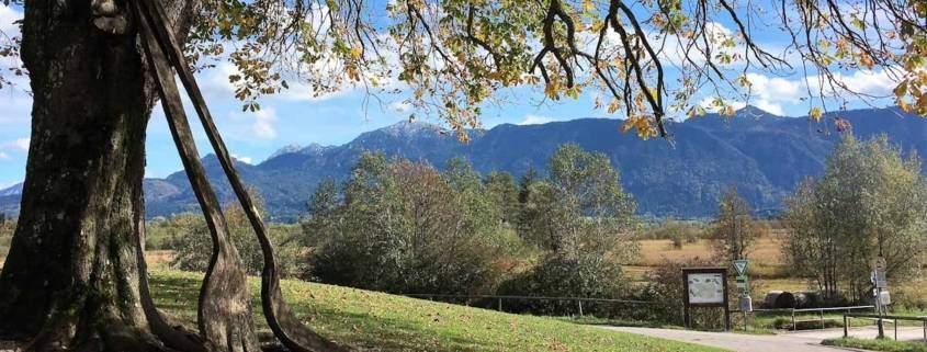 Wandern im Blauen Land, das Murnauer Moos zwischen München und Garmisch-Partenkirchen bietet für Familenurlaub, Genusswandern und Naturliebhaber optimale Bedingungen. Auszeit beim Genusswandern. Bayern genießen und die Natur erleben. Zur Belohnung nach der Wanderung wartet im Biergarten unter Kastanien der Kaiserschmarrn. Bayern traditionell anders, wie man im Freilichtmuseum Glentleiten sieht.